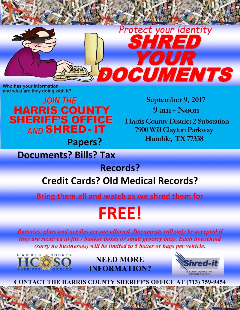 HCSO Shred-It Event In Humble